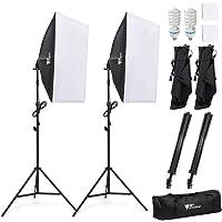 Amzdeal Softbox kit 2 Professionale Illuminazione 1124W, Luce Continua 5500K con 2 x Lampade 50 x 70cm, 2 x Supporto e 1x scatola d'imbagaglio, Per la Fotografia di Prodotti e Ripresa di Video
