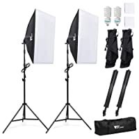 Amzdeal® kit Attrezzatura Fotografica 2 x softbox 50 x 70cm con lampade 2 x 135W e 2 x Supporto Per la fotografia Kit Set da Studio Professionale normative europee