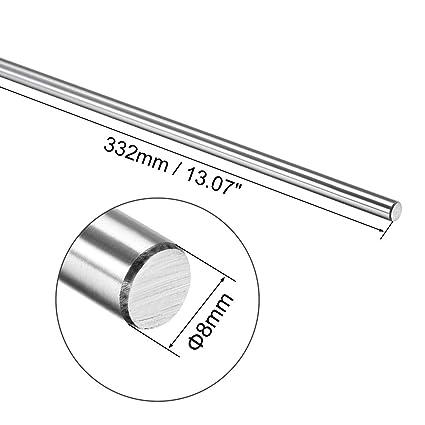 sourcing map Eje//gu/ía de movimiento lineal cromado de varilla endurecida de 6mm x 301mm