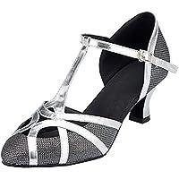 TDA Womens Closed Toe Champagne PU Leather Salsa Tango Ballroom Latin Party Dance Shoes CM101 6 M US