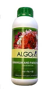 ALGOplus Geranium and Patio Plants Liquid Fertilizer for Houseplant and Organic Garden - Plant Food with Micro-Nutrients NPK N4 P6 K8 - 1-Liter Bottle