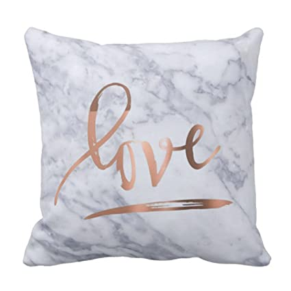 Amazon Emvency Throw Pillow Cover Love Rose Gold And Faux Unique Rose Gold Decorative Pillows