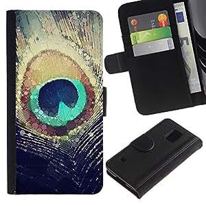 Billetera de Cuero Caso Titular de la tarjeta Carcasa Funda para Samsung Galaxy S5 V SM-G900 / Eye Peacock Feather Bird Sun Nature / STRONG