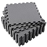 SUPERJARE Eva Foam Mat, 16 Tiles (16 Tiles = 16 sq.ft) Interlocking Floor Tiles, with Borders Grey