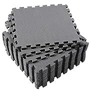 Eva Foam Mat, Superjare 16 Tiles (16 tiles = 16 sq.ft) Interlocking Floor Tiles, with Borders Grey