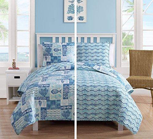 Full/Queen Size Quilt Set in Blue Beautiful Beach 3 Pc Set w/ 2 Shams