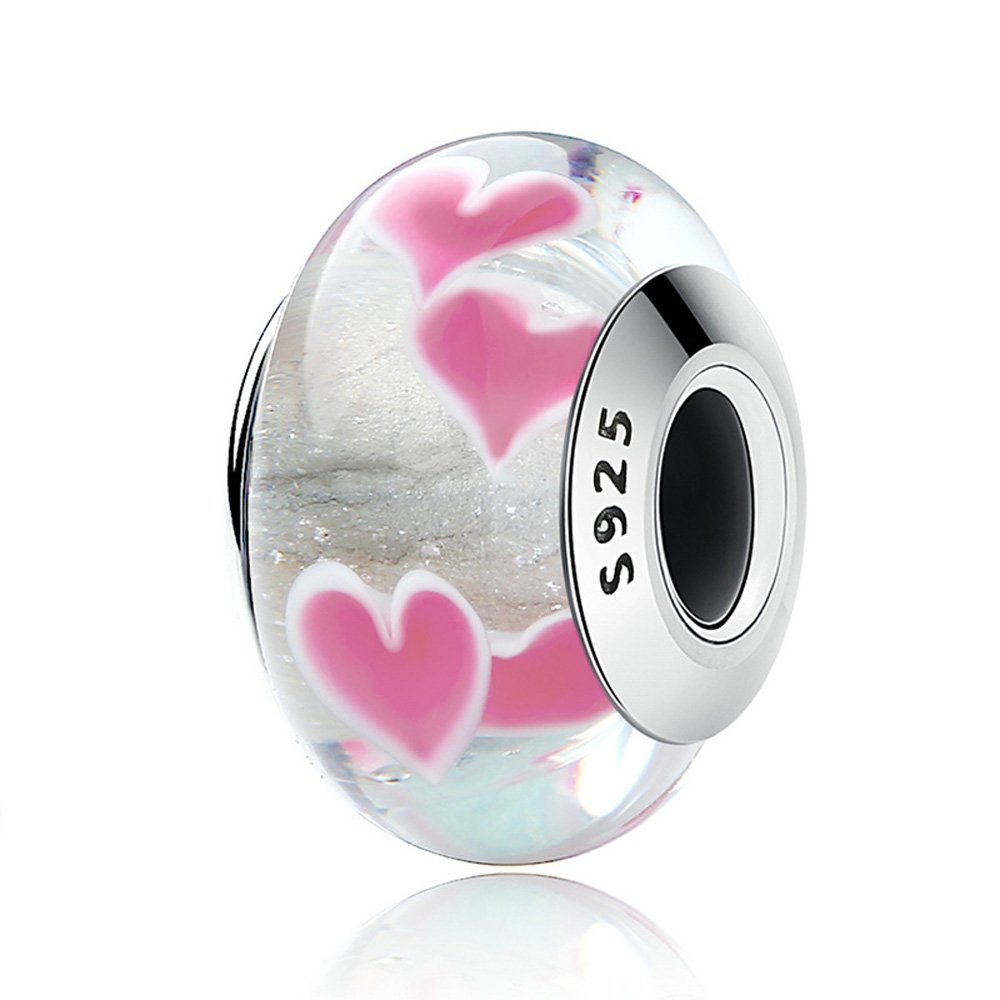 Everbling Hearts Murano Glass 925 Sterling Silver Bead Fits European Charm Bracelet (Crazy Hearts)