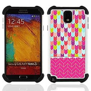 """SAMSUNG Galaxy Note 3 III / N9000 / N9005 - 3 en 1 impreso colorido de Altas Prestaciones PC Funda chaqueta Negro cubierta gel silicona suave (Chevron del rosa del arte del trullo púrpura verde"""")"""