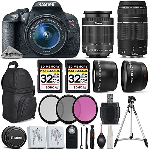 Canon EOS Rebel T5i DSLR Camera Full HD 1080p + Canon 18-55mm IS Lens + Canon 75-300mm III Lens + 0.43x Wide Angle Lens + 2.2x Telephoto Lens + 64GB Storage + Backup Battery - International Version