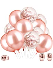 Rorchio 60pcs Rose Gold Balloons Set, 20pcs Rose Gold Confetti Balloon 40pcs Rose Gold Latex Balloons with 3pcs Balloon Ribbons for Wedding Bridal Shower Birthday Party Rose Gold Party Decorations