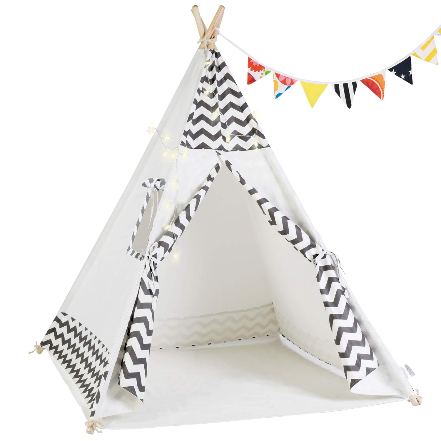 OlarHike Teepee Play Tent for Kids,Girl and Boy, Durable Baby Toddler Tents with Window, Colorful Lights, Flag, Carpet, Non-Slip Base. by OlarHike