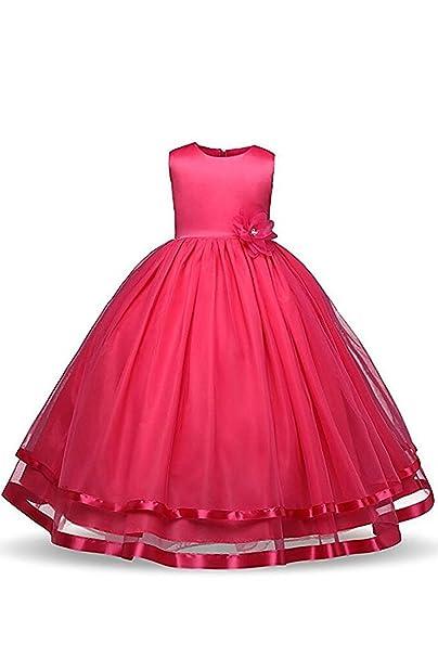 CoutureBridal - Vestido - corte imperio - Sin mangas - para niña Rosa 10 años