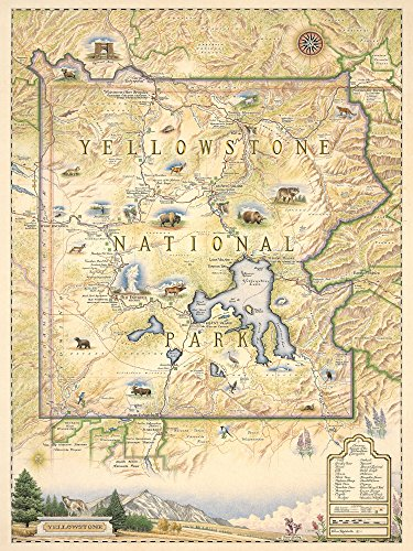 Xplorer Maps Yellowstone National Park Poster - Authentic Hand Drawn Map of Yellowstone Map Art - Lithographic Fine-Art Print (Yellowstone National Park On Map Of Usa)