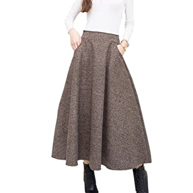 2017 2018 Woolen Autumn Winter Plus Size A Line Midi Wool Skirt Faldas Mujer Women High