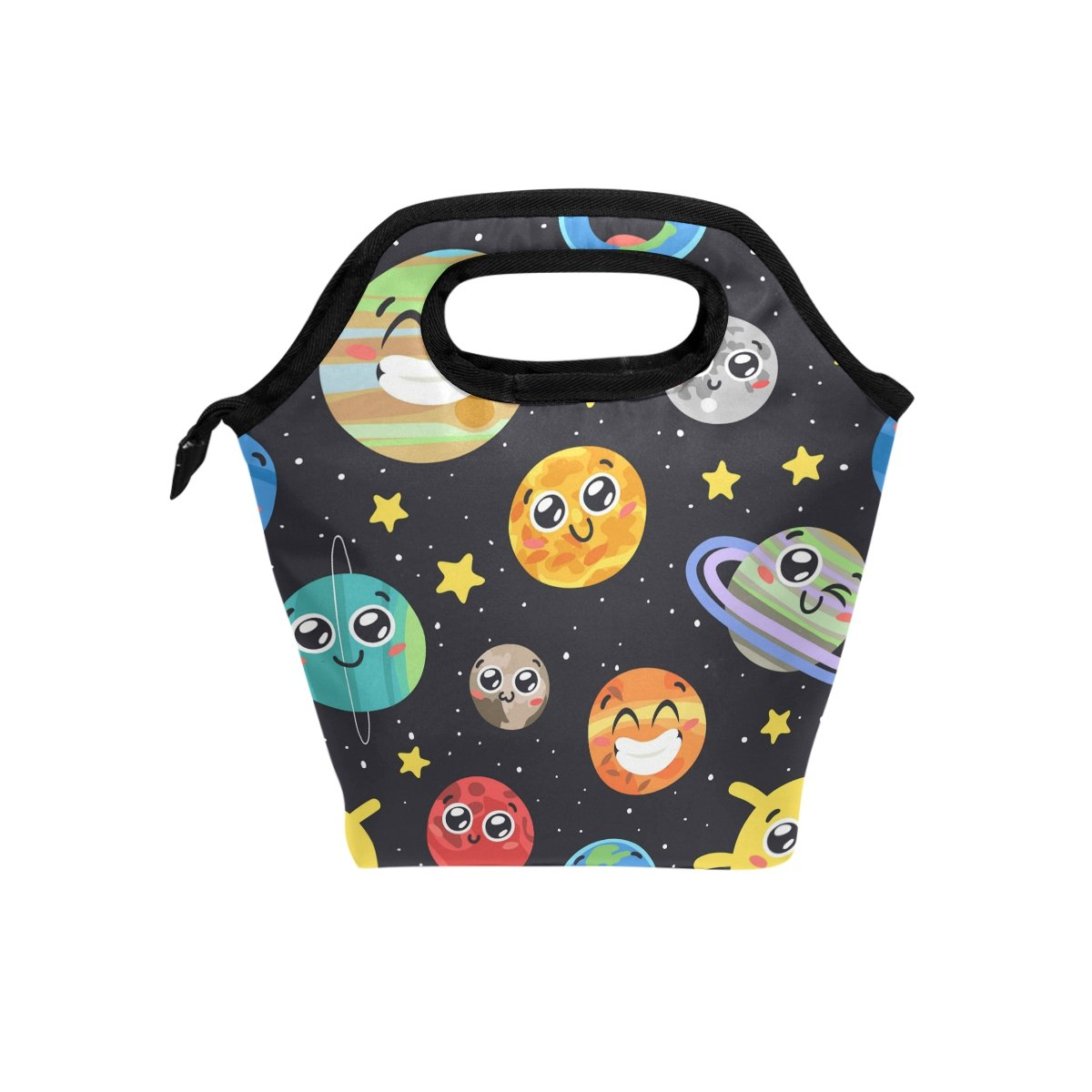 ShineSnow Hand Drawn Solar System Sun Moon Insulated Lunch Bag, Cartoon Funny Cute Tote Handbag Lunchbox Food Container Cooler Warm Pouch for Adult Kids Outdoors School Office