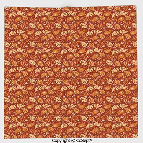 (AmaUncle Microfiber Square Towel,Retro Style Pattern with Paisley and Flowers Stylized Ornate Leave Figures,Suitable for Camping,Running,Cycling,Gym(19.68x19.68 inch),Redwood Orange Cream)