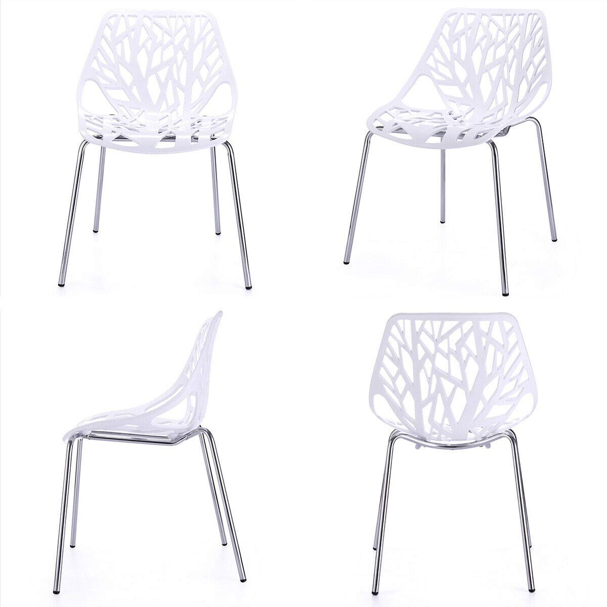 White Modern Dining Chairs Luxury Design Birch Chairs Comfortable Seat Living Room Home Furniture Decor Set of 4