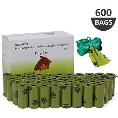AIXMEET Bolsas Caca Perro, 600 Bolsas de Compost para Perros con 1dispensador(32X22cm)