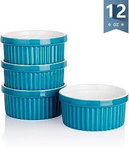 Sweese 503.107 Porcelain Ramekins for Baking - 12 Ounce Souffle Dish - Set of 4, Steel Blue