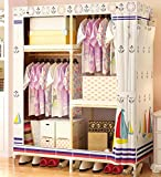 GL&G Wardrobe Closet Portable Non-Woven Fabric Free Standing Storage Organizer – Portable, Detachable, and Lightweight Solid wood Clothing Closet Home finishing decoration,A,59''35''