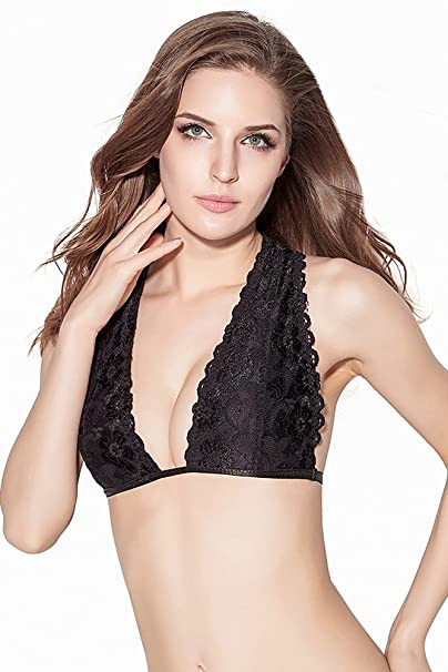 ea39031fd4abb InsBuy Women s Lace Bralette Soft Unlined T-Back Wirefree Bra XL White and  Black Set at Amazon Women s Clothing store