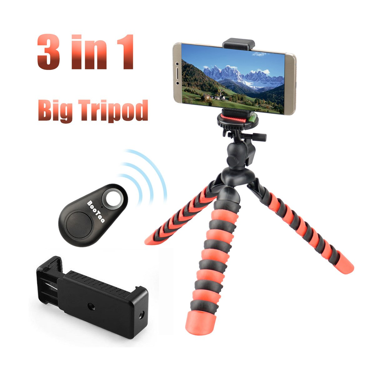 """3 in 1 Flexible Phone Mini Camera Tripod,Adjustable Tripod for Iphone,Smartphone,Android phone,Camera with Phone Adapter Mount by Bootaa(12"""" Big Size)"""