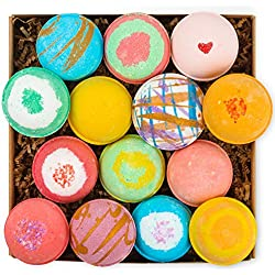 14 Bath Bombs by HanZá Gift Set USA Handmade Lush Fizzies, Shea & Cocoa Butter, Skin Moisturizing, Add to Bubble & Spa Bath, Tub Tea. Mothers Day Gift Idea For Her, Wife, Women, Teen Girls