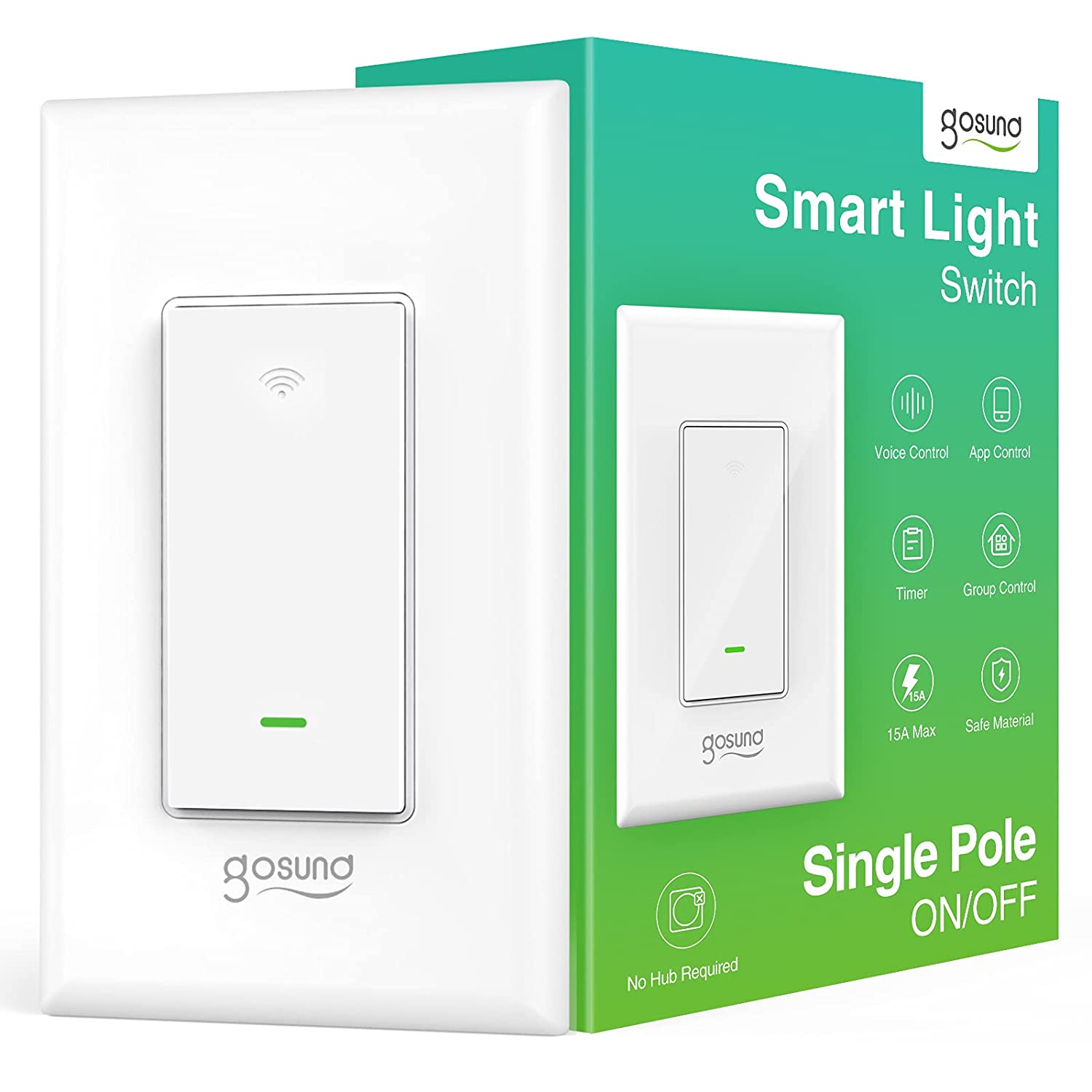 Gosund Smart Light Switch, 2.4GHz WiFi Smart Switch Compatible with Alexa and Google Home, Single-Pole in-Wall Light Switch, Neutral Wire Needed, No Hub Required, UL Certified