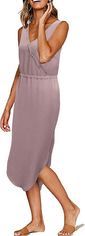 MOQIVGI Womens Sleeveless V Neck Button Trim Tie Waist Side Split Midi Chiffon Dress