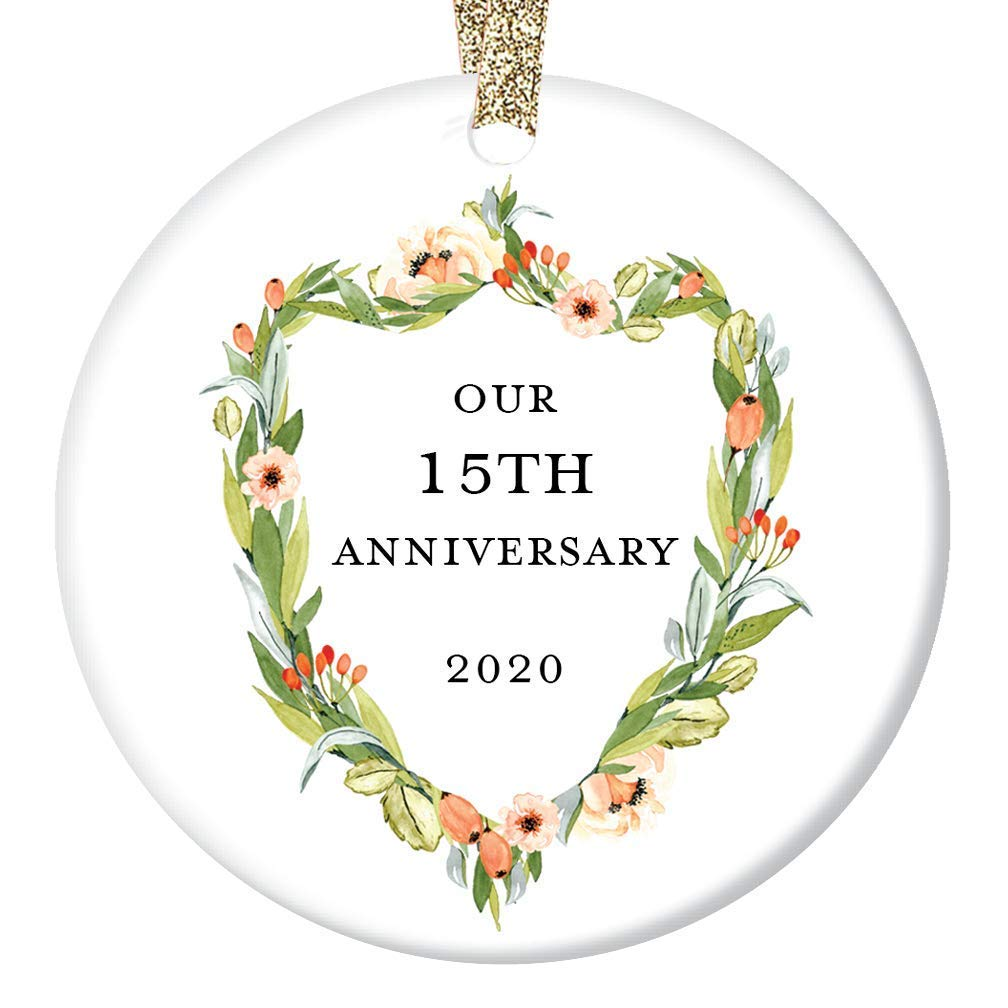 15th Wedding Anniversary Ornament 2020 Fifteenth Christmas 15 Years Together Married Couple Present Husband & Wife Pretty Holiday Ceramic Keepsake 3