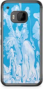 HTC One M9 Transparent Edge Phone Case Blue Watercolor Phone Case Blue Marble M9 Cover with Transparent Frame