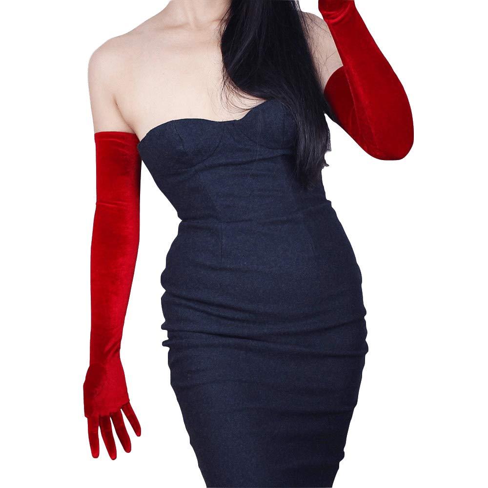 DooWay 23-inch Red Velvet Opera Long Gloves Evening Elastic Stretchy Women Finger Gloves One Size