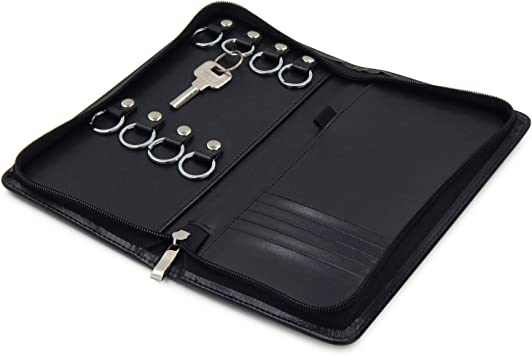 Black Genuine Soft Leather Popper Fastened Secure Key Case 6 Hooks