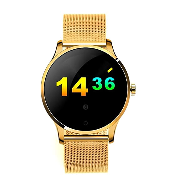 For K88H MTK2502C ,Ouneed ® Reloj inteligente K88H MTK2502C Bluetooth del ritmo cardíaco pista reloj de pulsera de cuero (Oro): Amazon.es: Deportes y aire ...