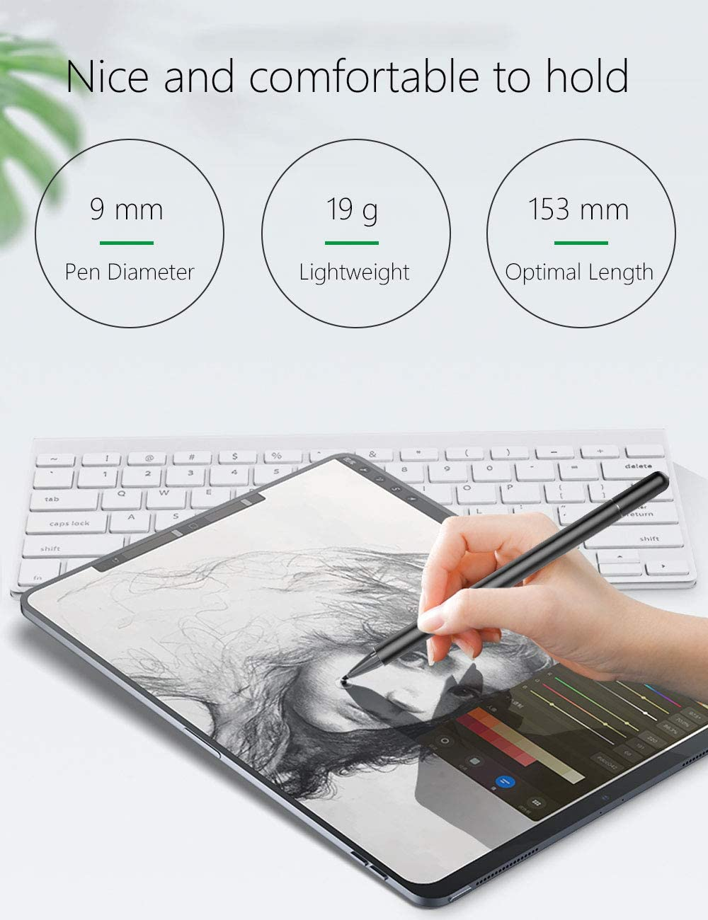 Stylus for Touch Screens Capacitive Stylus Pen with High Sensitivity /& Fine Point Universal for Apple//iPhone//iPad Pro//Mini//Air//Android//Microsoft//Tablet and Touch Screens Stylus for iPad Black