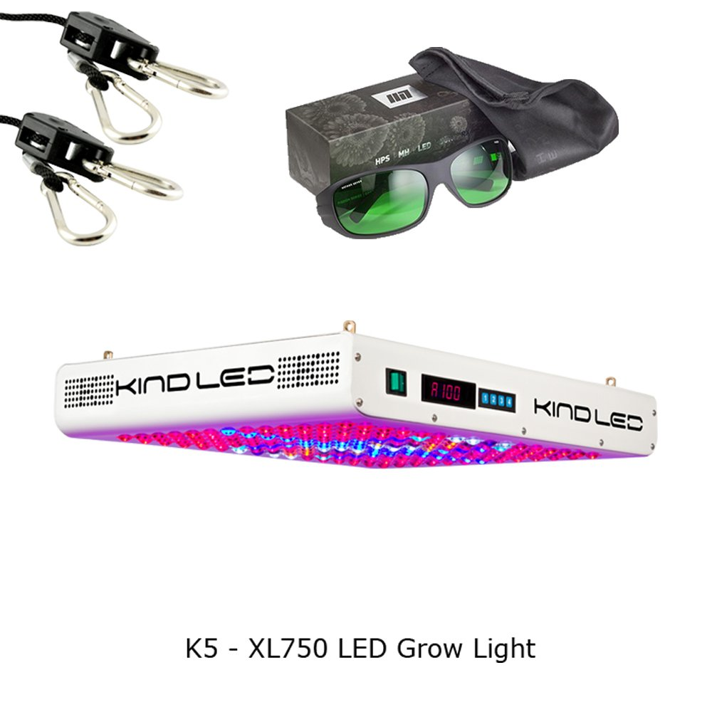 Kind K5 XL750 LED Grow Light w/ Ratchet Light Hangers and Method Seven Grow Room Glasses (Random Pair Selected)
