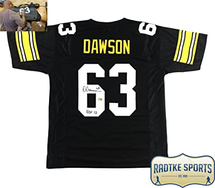 16d86db4529 Image Unavailable. Image not available for. Color  Dermontti Dawson  Autographed Signed Pittsburgh Black Custom Jersey with quot HOF 12 quot   Inscription