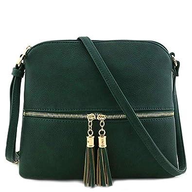 ee9a2b931c95 FarJing Women Leather Tassel Zipper Crossbody Bag Pure Color Shoulder Bags  Messenger Bag(One Size