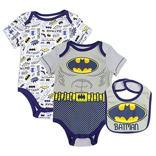 Batman Infant Bib - DC Comics Batman WB Batman Boys Baby Layette Onsie Set (3/6 Months)