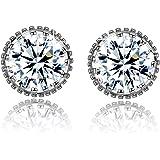 Fashion Women Earrings 925 Sterling Silver 5A Round Cubic Zirconia Stud Earrings Jewellery Gift jXQma