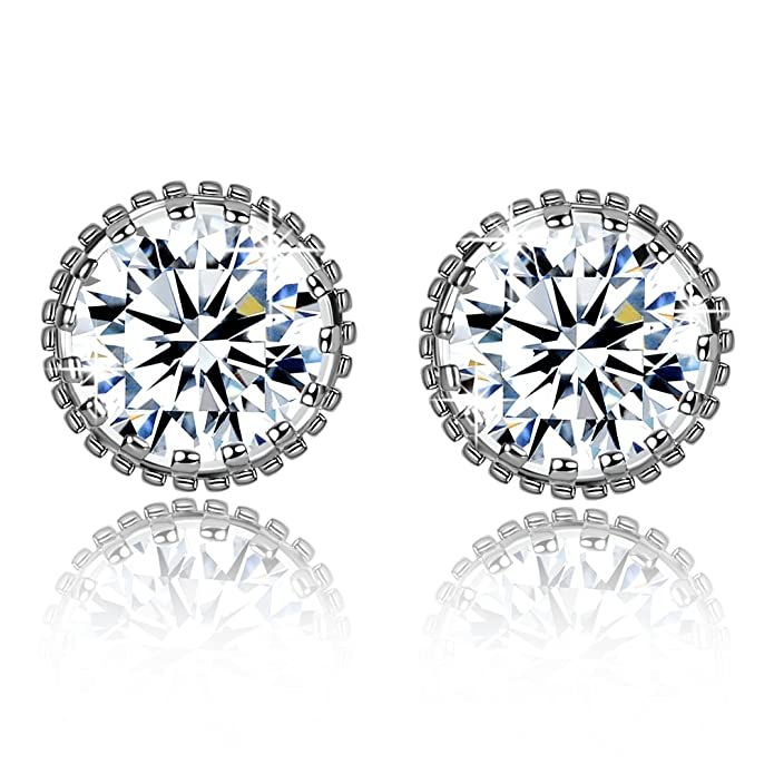 Fashion Women Earrings 925 Sterling Silver 5A Round Cubic Zirconia Stud Earrings Jewellery Gift FRgQKtk