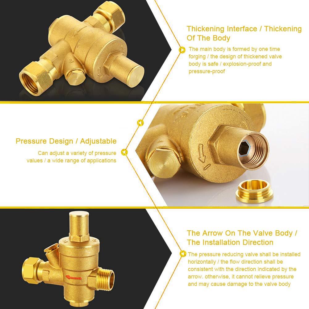 DN25 32mm Pressure Regulator Brass Adjustable Water Pressure Reducing Regulator Reducer+Gauge Meter 1.6Mpa
