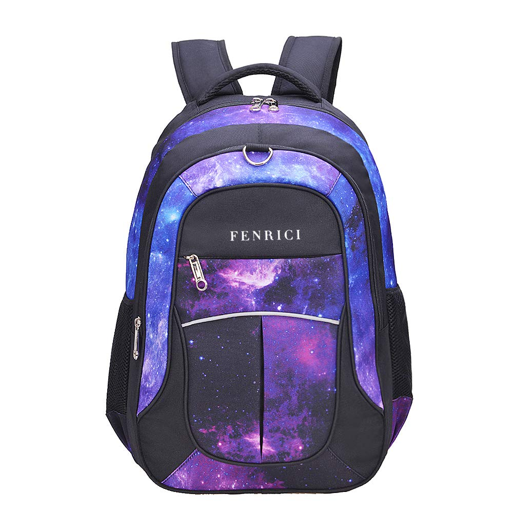 Galaxy Backpack for Girls, Boys, Kids, Teens by Fenrici, 18 inch Durable Book Bags for Elementary, Middle, Junior High School Students, Supporting a Great Cause (FAITH, L)