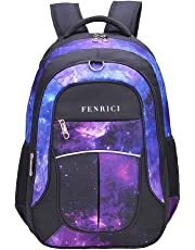 Galaxy Backpack for Girls, Boys, Kids, Teens by Fenrici, 18 inch Durable Book Bags for Elementary, Middle, Junior High School Students, Supporting a Great Cause (Faith, M)