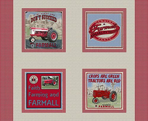 Fabrique FARMALL COUNTRY CHECK PILLOW PANEL-FARMALL QUILTING COTTON FABRIC WITH CHECK DESIGNS