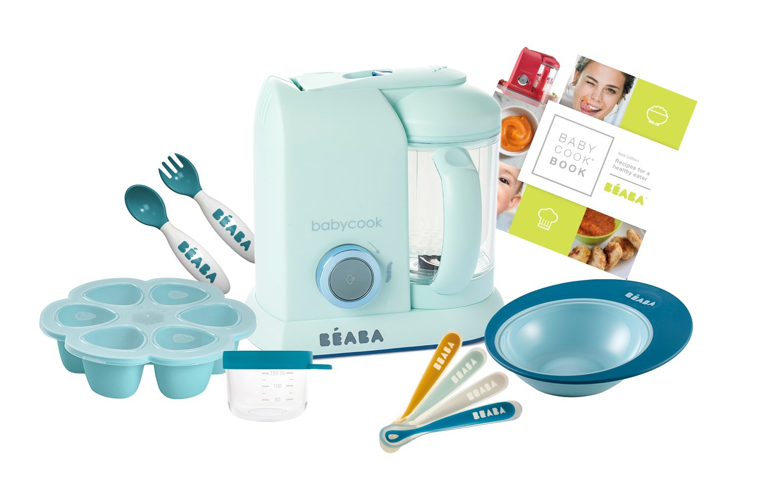 BEABA 2nd Stage Feeding Gift Set, includes Babycook, silicone spoons, 2nd stage cutlery, silicone food storage tray, bowls, glass containers, cookbook, Blueberry