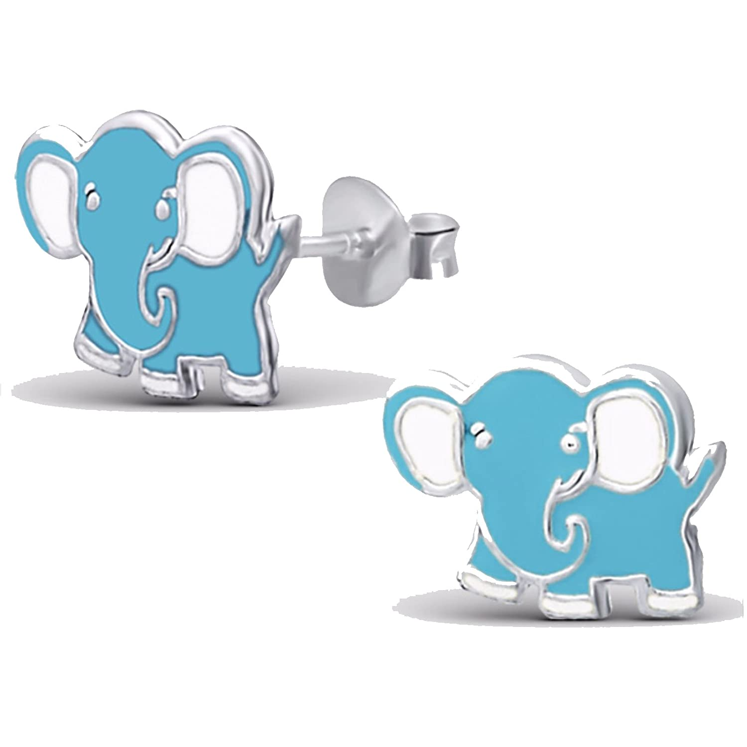 Silvadore - 925 Sterling Silver Childrens Stud Earrings - Elephant Light Blue - Butterfly Clasp - Free Gift Boxed 293ESE24LtBlue