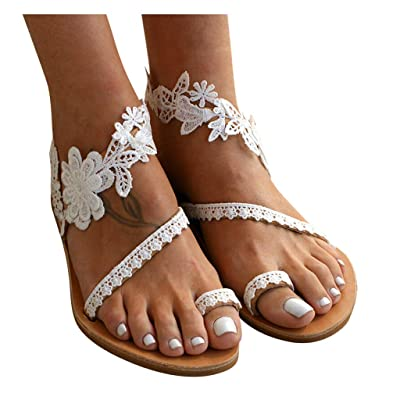 Dainzusyful Summer Sandals for Women Slip-On Flat Clip Toe Lace Floral Shoe Beach Roman Dress Sandal Shoes: Clothing