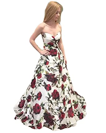 Ri Yun Sexy Strapless Spring Princess Floral Prom Dresses Long 2018 Evening Gowns Formal Party Dresses