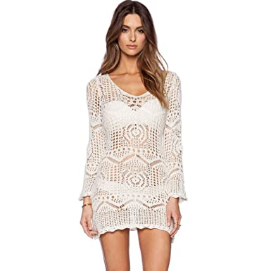 Sweetichic Lace Floral Hallow Out Swimwear Cover Up Ivory Dress